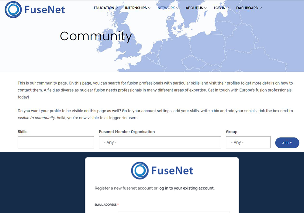 Preview of community page and registration form