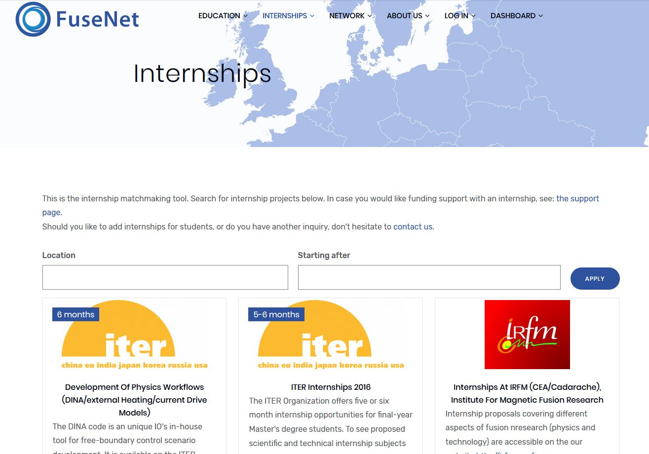 Preview of internships page