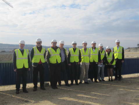 The FUSENET Executive Board standing at the tokamak pit of ITER
